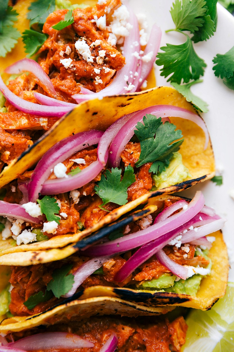 Overhead image of Chicken Tinga Tacos, stuffed with pickled red onions, guacamole, and cilantro.