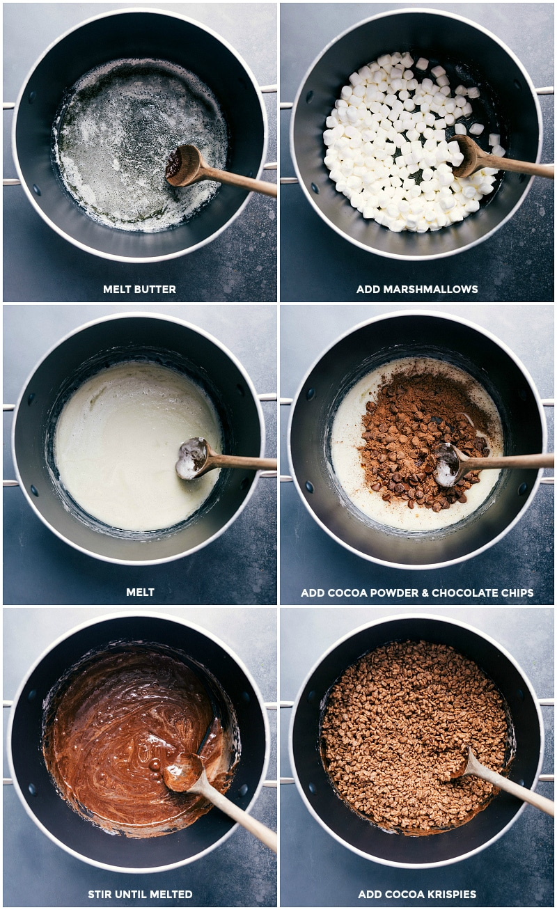 Process shots--images of the butter and marshmallows being melted; the cocoa powder and chocolate chips being added and melted; and the Cocoa Krispies being added and mixed together.
