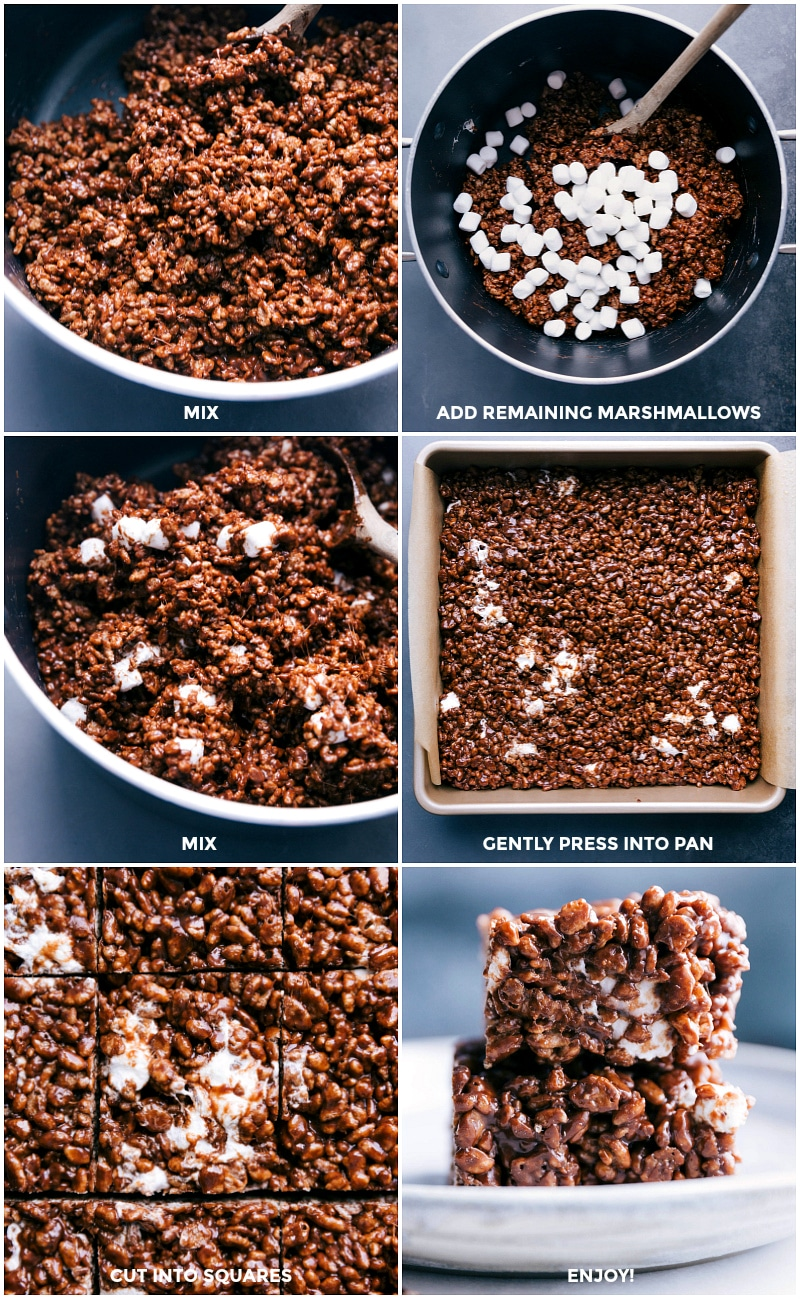 Process shots-- images of the remaining marshmallows being added; the mixture being added to a prepared pan and pressed; and then the bars being cut into squares.