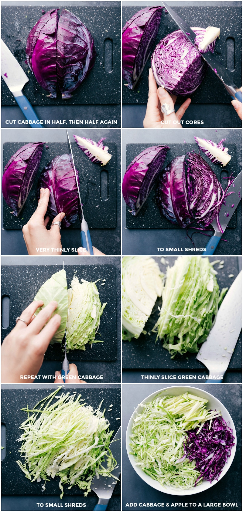 Process shots-- images of the red and green cabbage being quartered; thinly slicing for the coleslaw; adding matchstick apple slices.