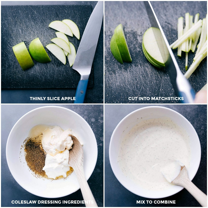 Process shots-- images of the apples being thinly sliced; cutting the apple slices into matchsticks; the coleslaw dressing being made; mixing ingredients together.