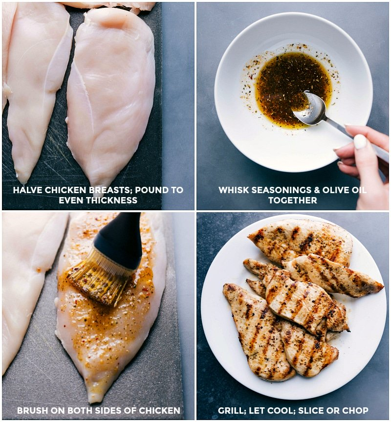Process shots of grilling chicken: halve chicken breasts and pound to even thickness; whisk together seasonins and olive oil; brush olive oil blend onto both sides of the chicken; grill, cool and slice.