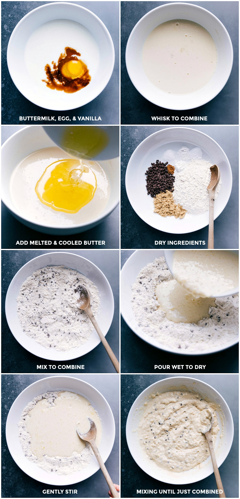 Process shots--mixing the wet and dry ingredients