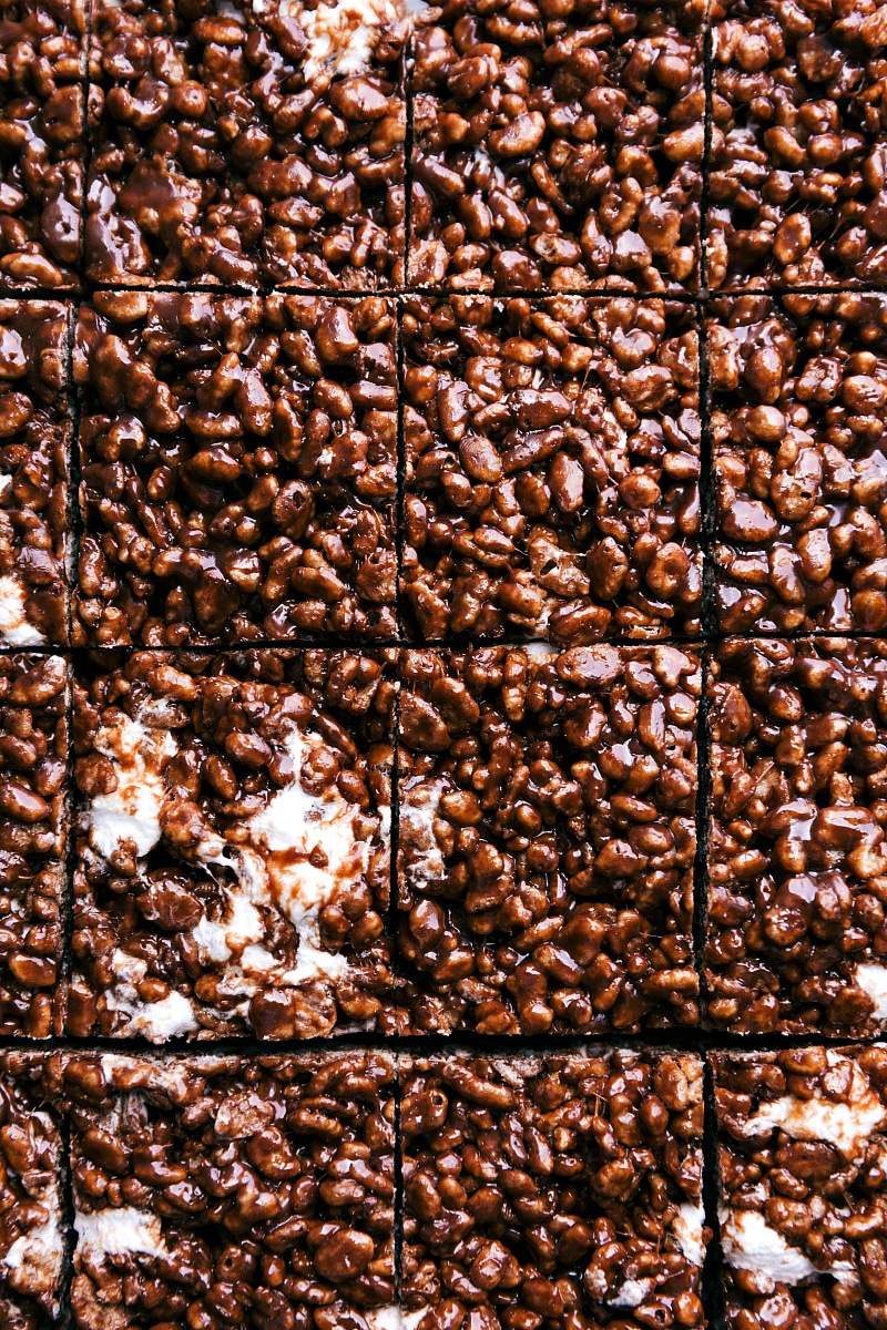 Overhead image of Chocolate Rice Krispie Treats, cut into squares.