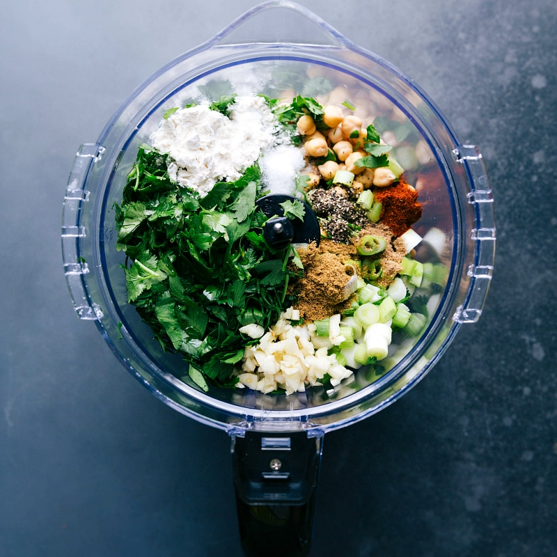 Process shot-- image of the falafel being made by adding all the ingredients into a food processor.