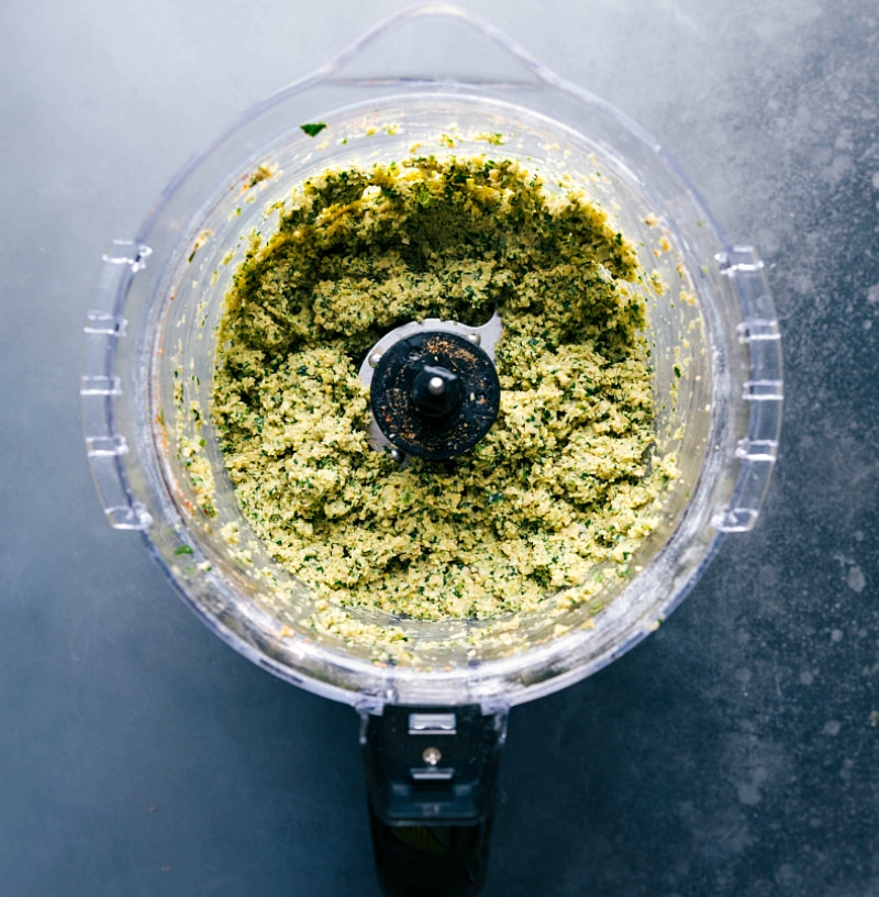 Image of all the ingredients in the food processor, blended up and ready to be baked.
