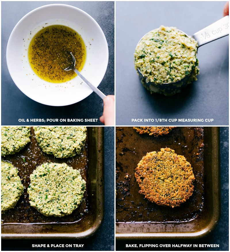 Process shots-- images of the herbed oil you dip the falafel in before baking; falafel mixture packed into a measuring cup for consistent sizing; falafel being placed on a tray and baked.