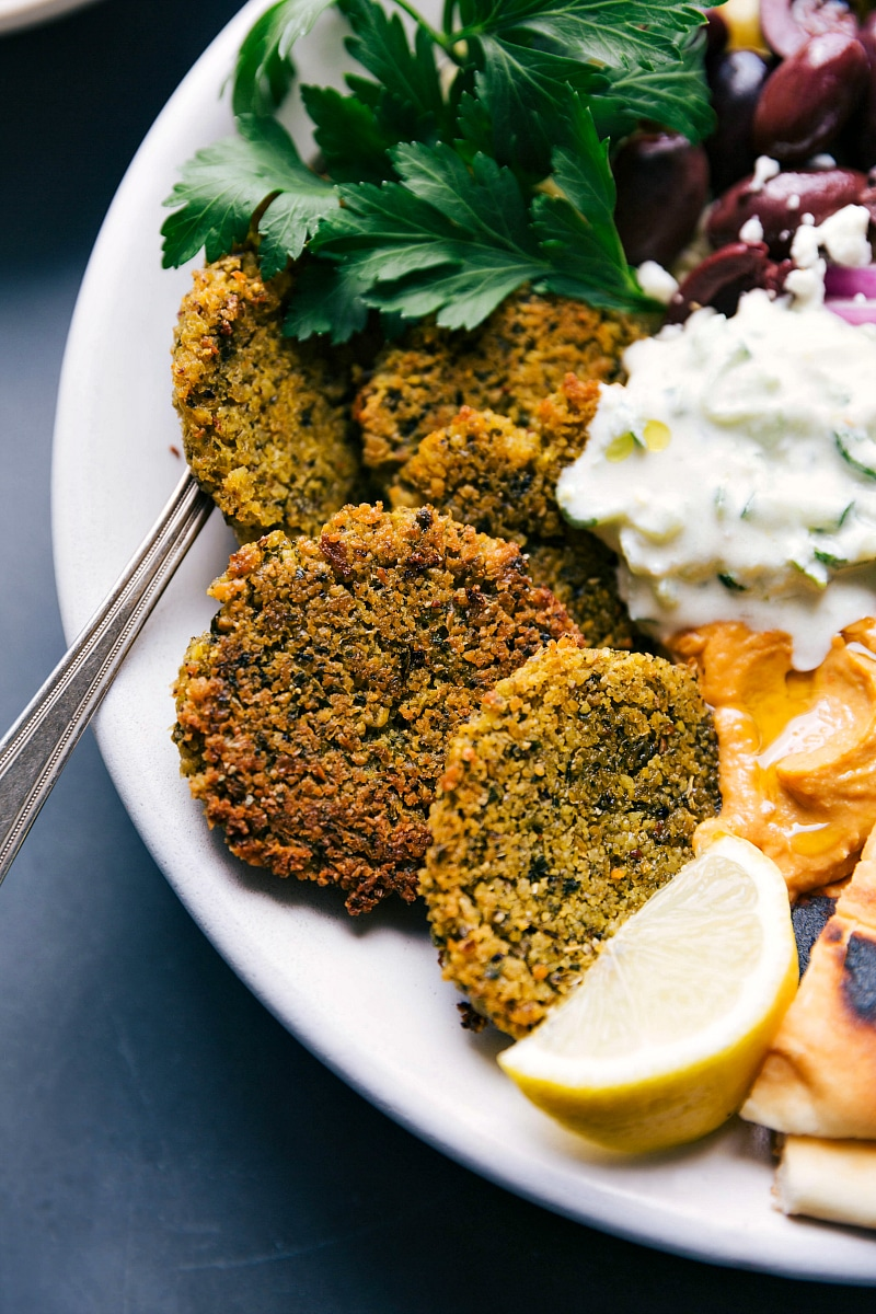 Up-close image of Baked Falafel in a bowl, ready to be eaten.