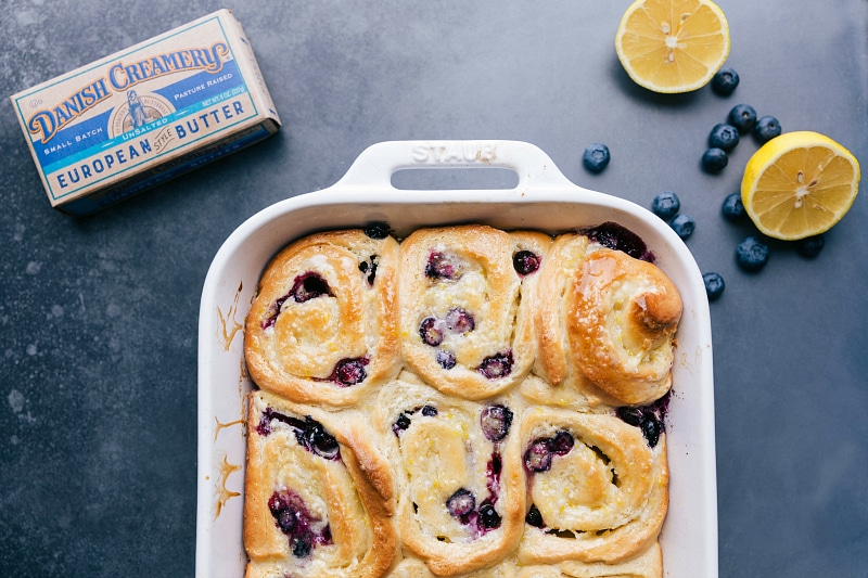 Image of the lemon blueberry sweet rolls fresh out of the oven without the glaze