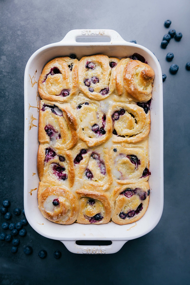 Overhead image of the lemon blueberry sweet rolls