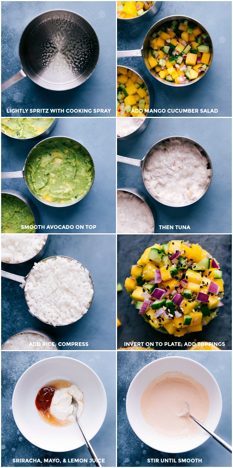 Images of all the layers of the Tuna Stacks being layered into the cup measure; and the sriracha mayo being made.