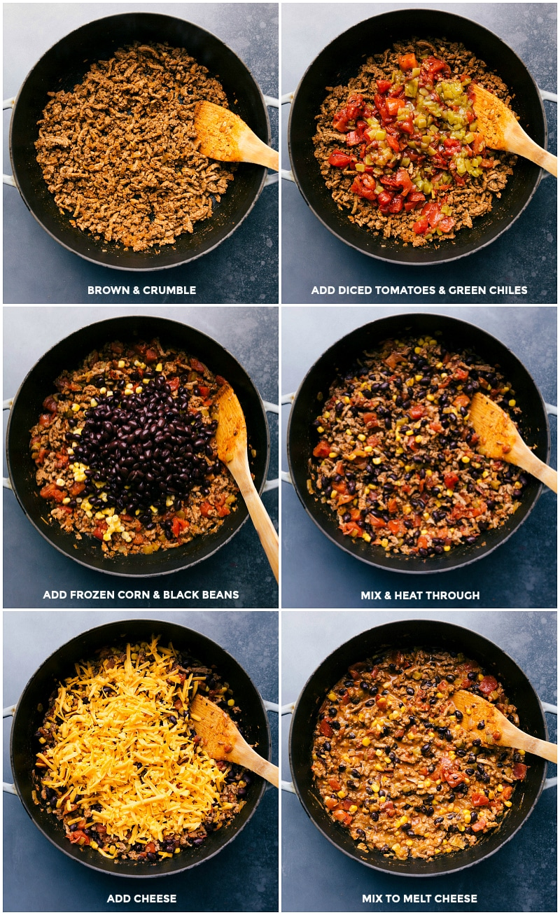 Process shots: brown and crumble ground turkey; add diced tomatoes and green chiles; add frozen corn and black beans; mix and heat through; add Cheddar cheese; mix to melt cheese for this turkey taco skillet.