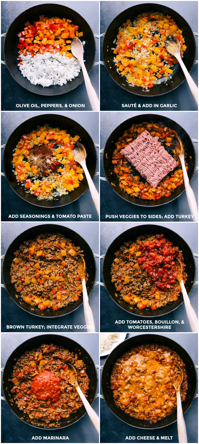 Process shots-- images of the veggies, meat, seasoning, marinara, and cheese being added to the skillet.