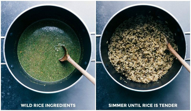 Process shots of making the wild rice: combine the ingredients in a pan; simmer until rice is tender.