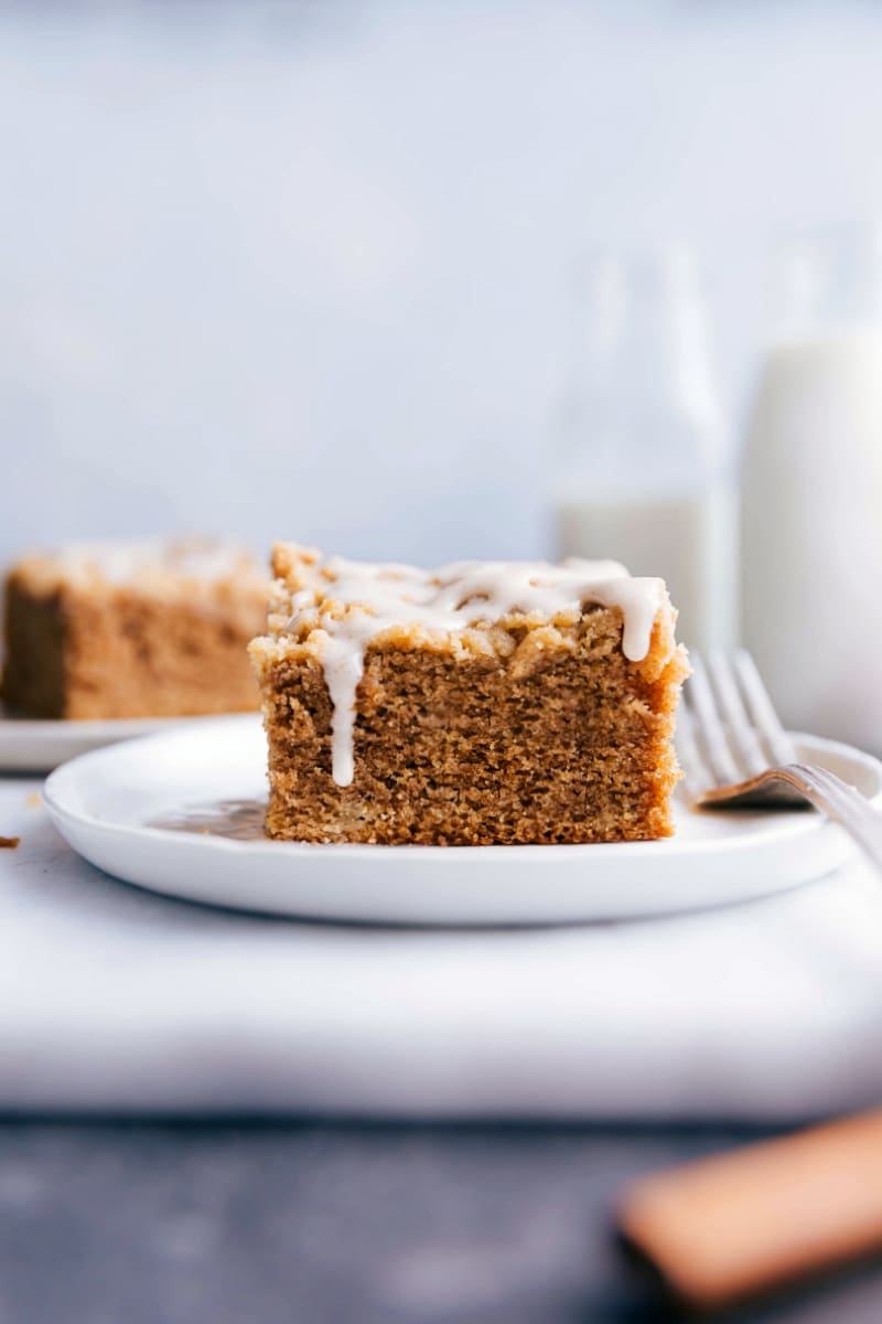 Image of a slice of Apple Coffee Cake on a plate.