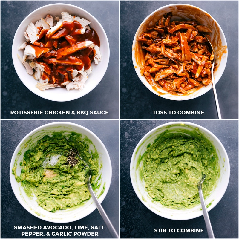 Process shots for BBQ Chicken Sandwich recipe: Combine rotisserie chicken and BBQ sauce; combine smashed avocado, lime, salt, pepper and garlic power for the guacamole-style sauce.