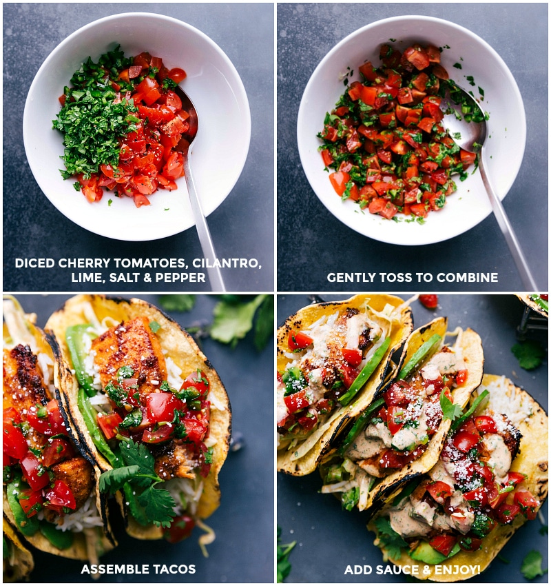 Process shots: make cheater pico by mixing diced cherry tomatoes, cilantro, lime, salt and pepper; assemble tacos with the pico on top.