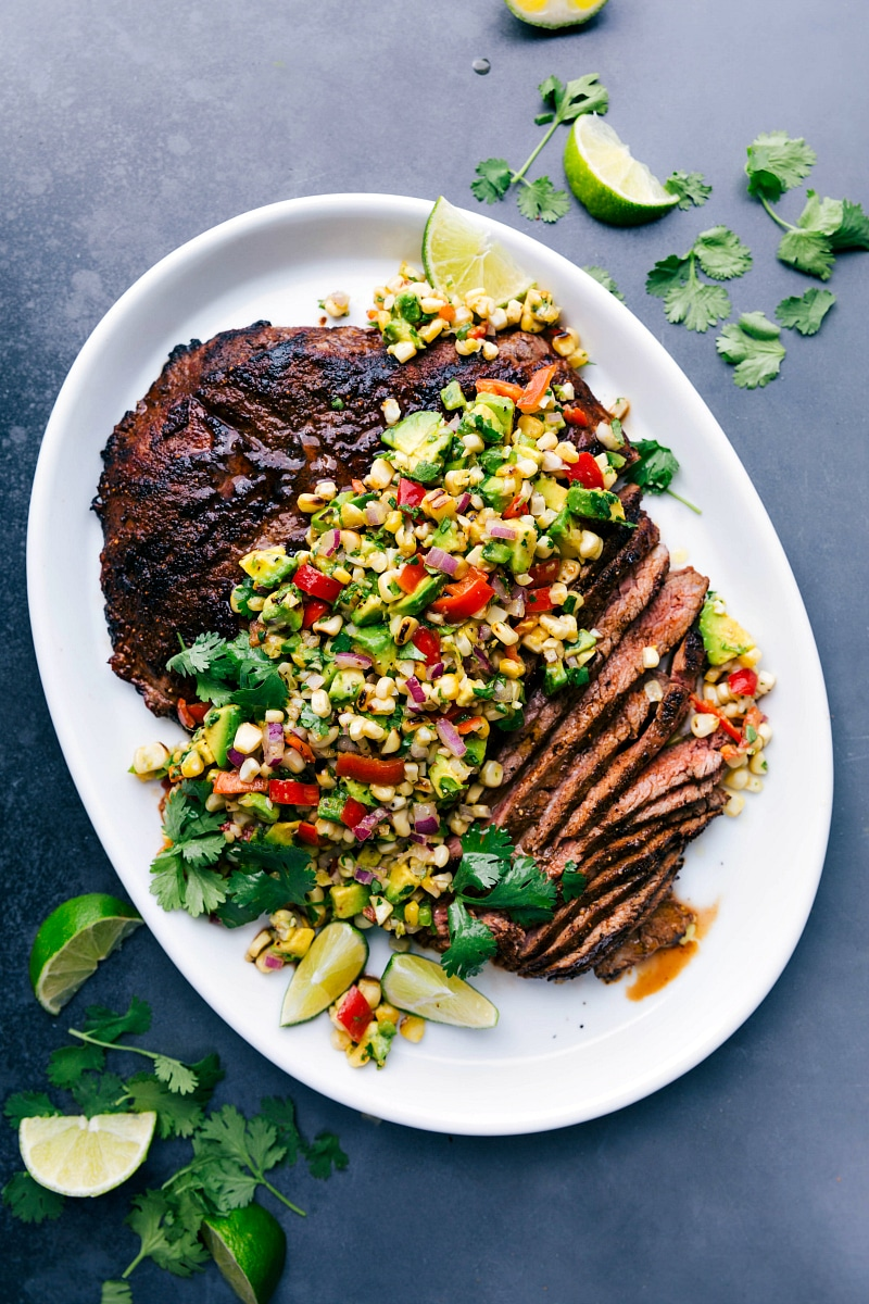 Overhead image of Flank Steak with Corn Salsa.