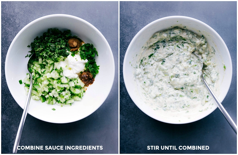 Making raita is so easy: combine the ingredients and stir until combined!