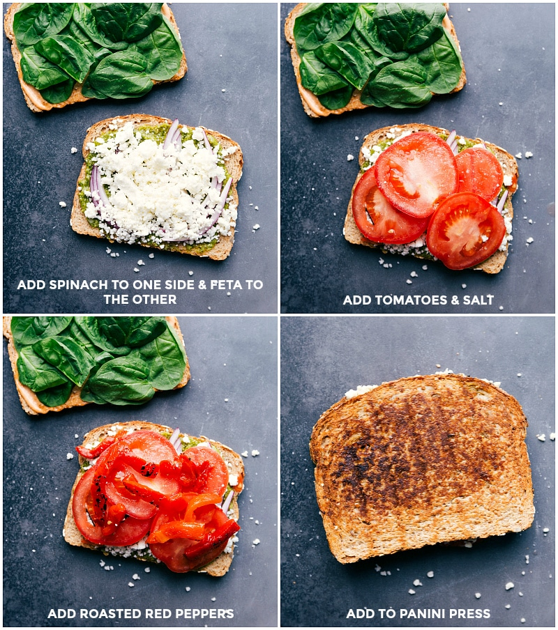 Process shots: Add spinach to one side of the bread and feta cheese to the other; add tomatoes and salt; add roasted red peppers; toast in a panini press.