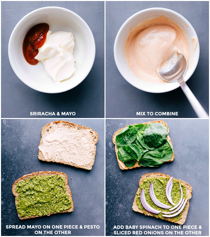 Process shots: make the special mayo by combining Sriracha and mayonnaise; Spread on one slide of bread, and put pesto on the other; add baby spinach to one slice and onion to the other for this Mediterranean Sandwich.