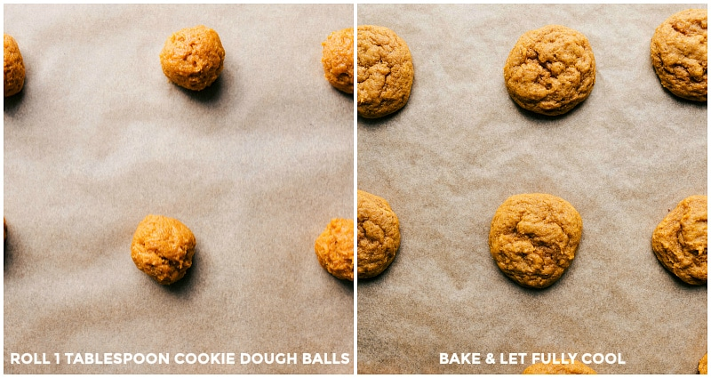 Images of cookie dough balls before and after baking.