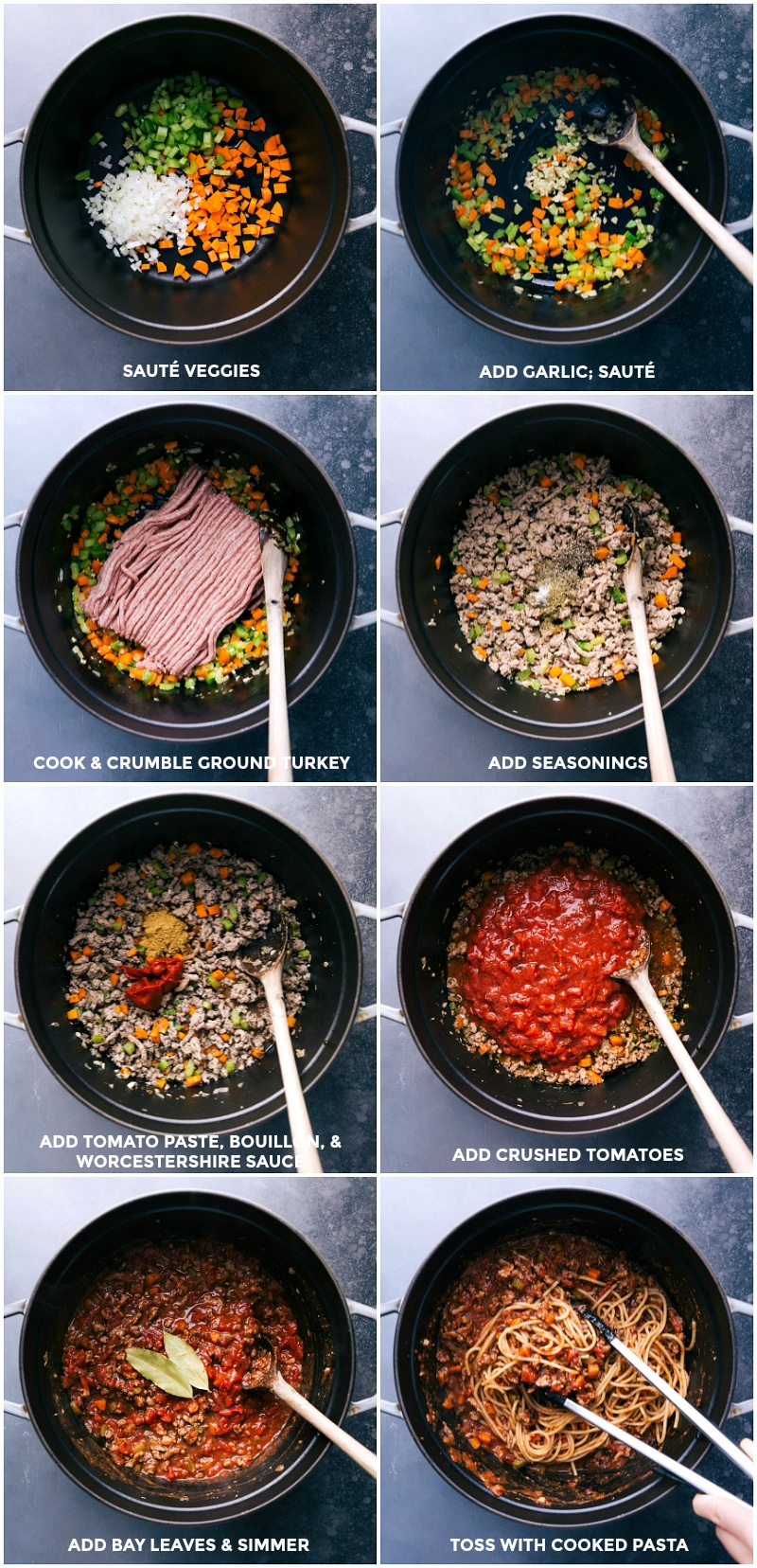 Process shots for making Turkey Bolognese: sauté veggies; add garlic; cook and crumble ground turkey; add seasoning; add tomato paste, bouillon and Worcestershire sauce; add crushed tomatoes; add bay leaves and simmer; toss with cooked pasta.