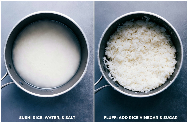 Image of sushi rice before and after cooking.