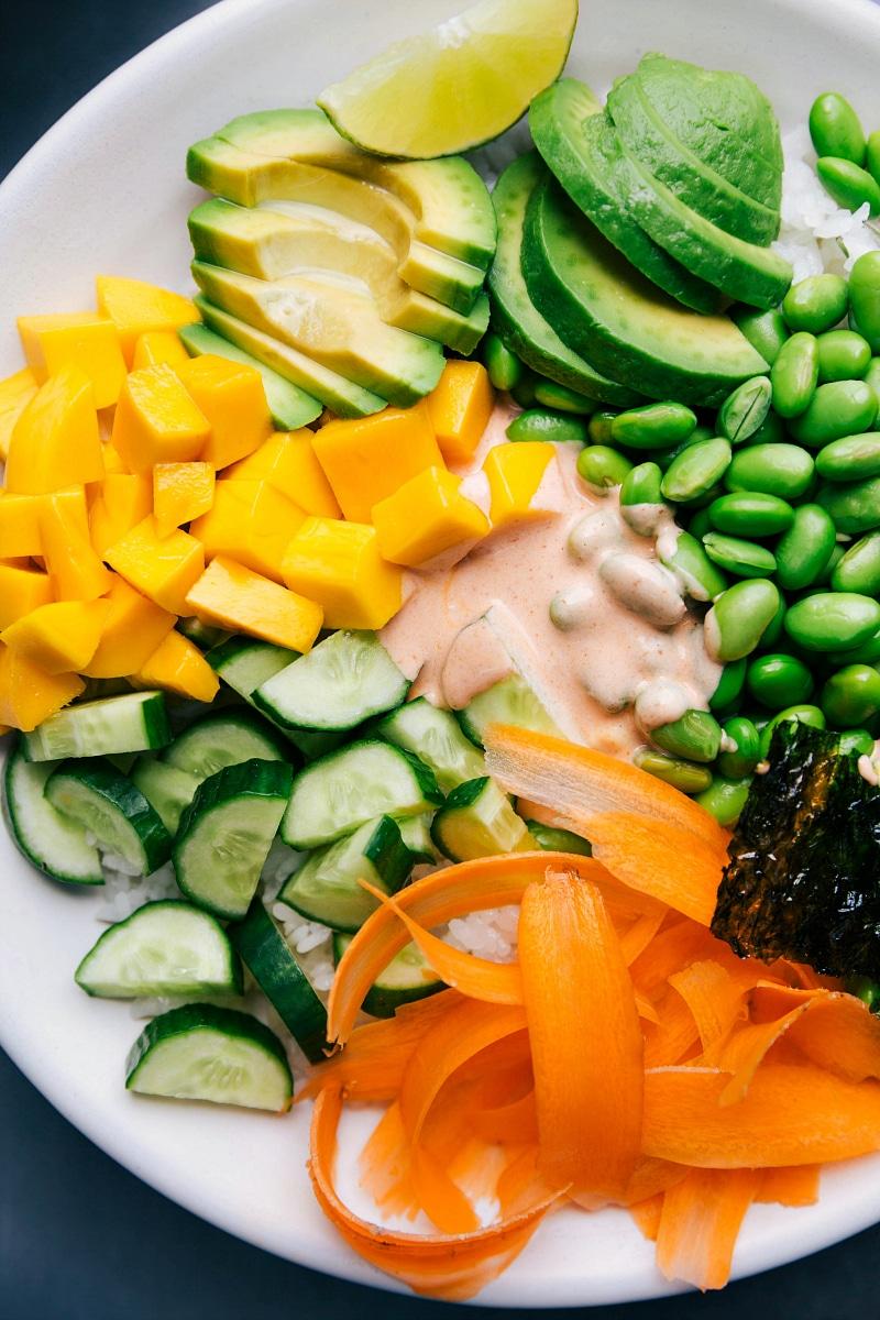 View of a Vegetarian Sushi Bowl.