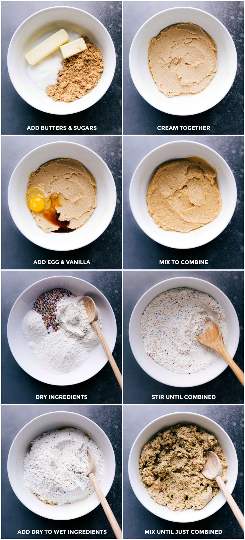 Process shots-- images of the wet and dry ingredients being prepped and mixed together.