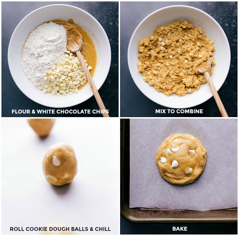 Process shots-- images of the dry ingredients being added on top of the wet; the dough being rolled into balls; the final baked cookies