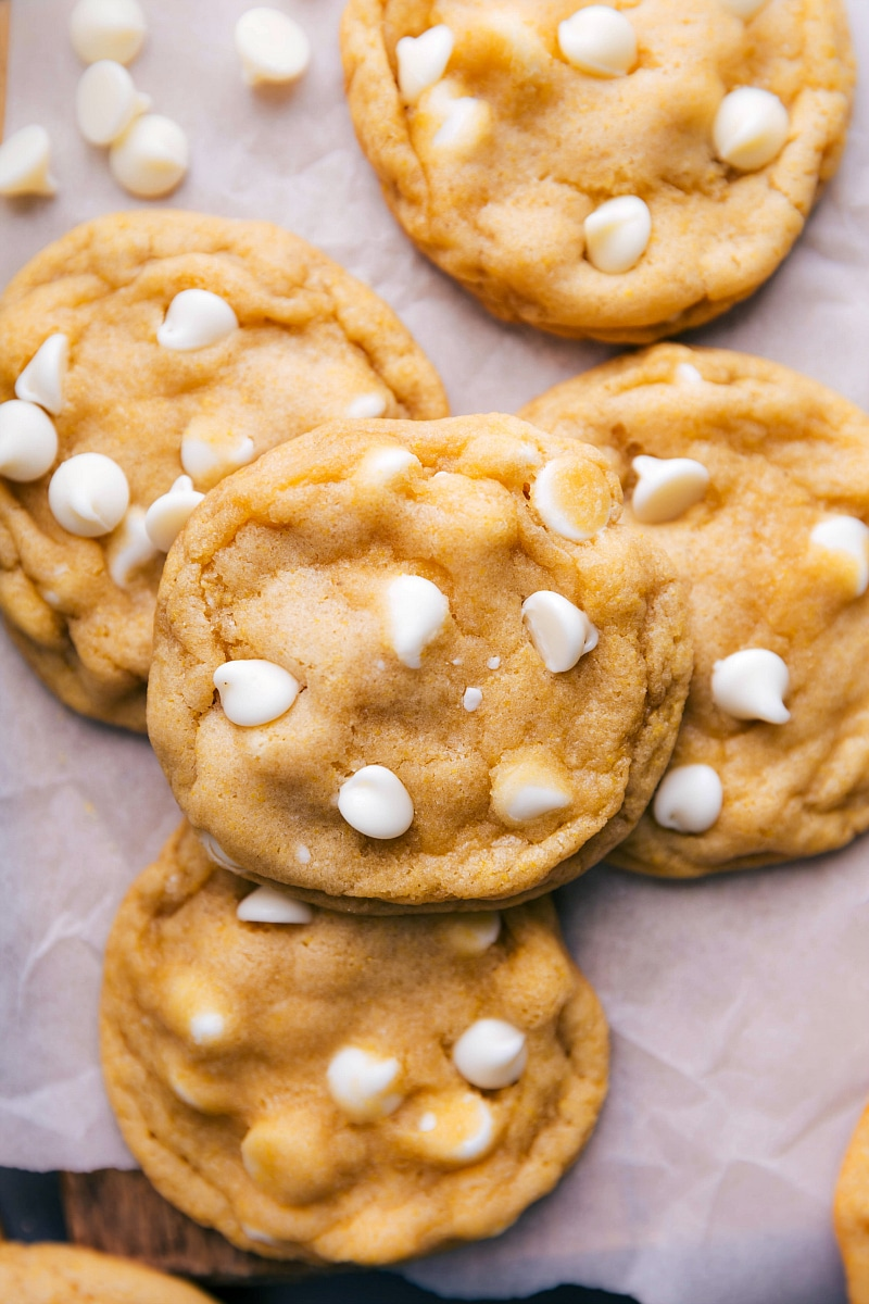 Up-close image of the cookies with the white chocolate chips around them.