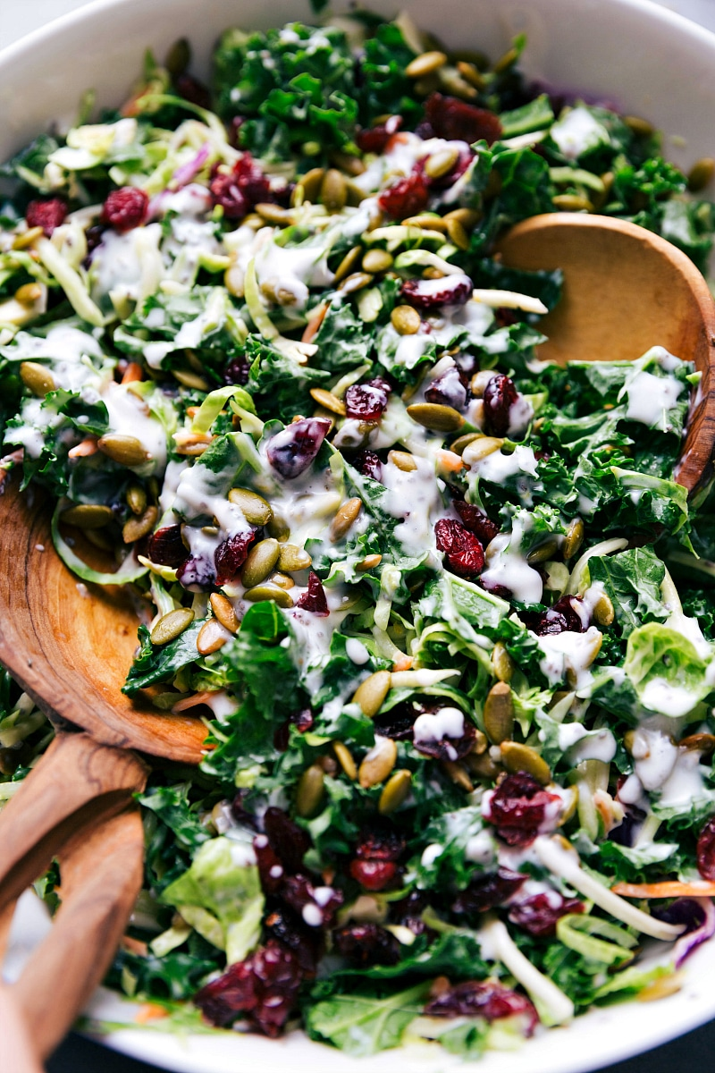 Up close overhead image of the kale salad in a bowl ready to be served