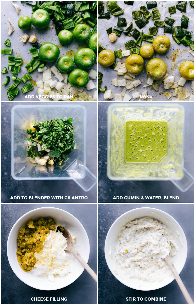 Process shots: add veggies to the pan and bake. Then add to the blender with cilantro; Add cumin and water and blend all together; in another bowl, combine cheese filling ingredients and mix well.