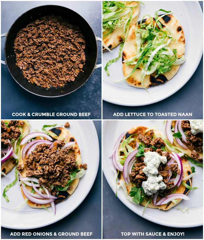 Process shots: cook and crumble ground beef; add lettuce to toasted naan; add beef and onions; top with sauce.
