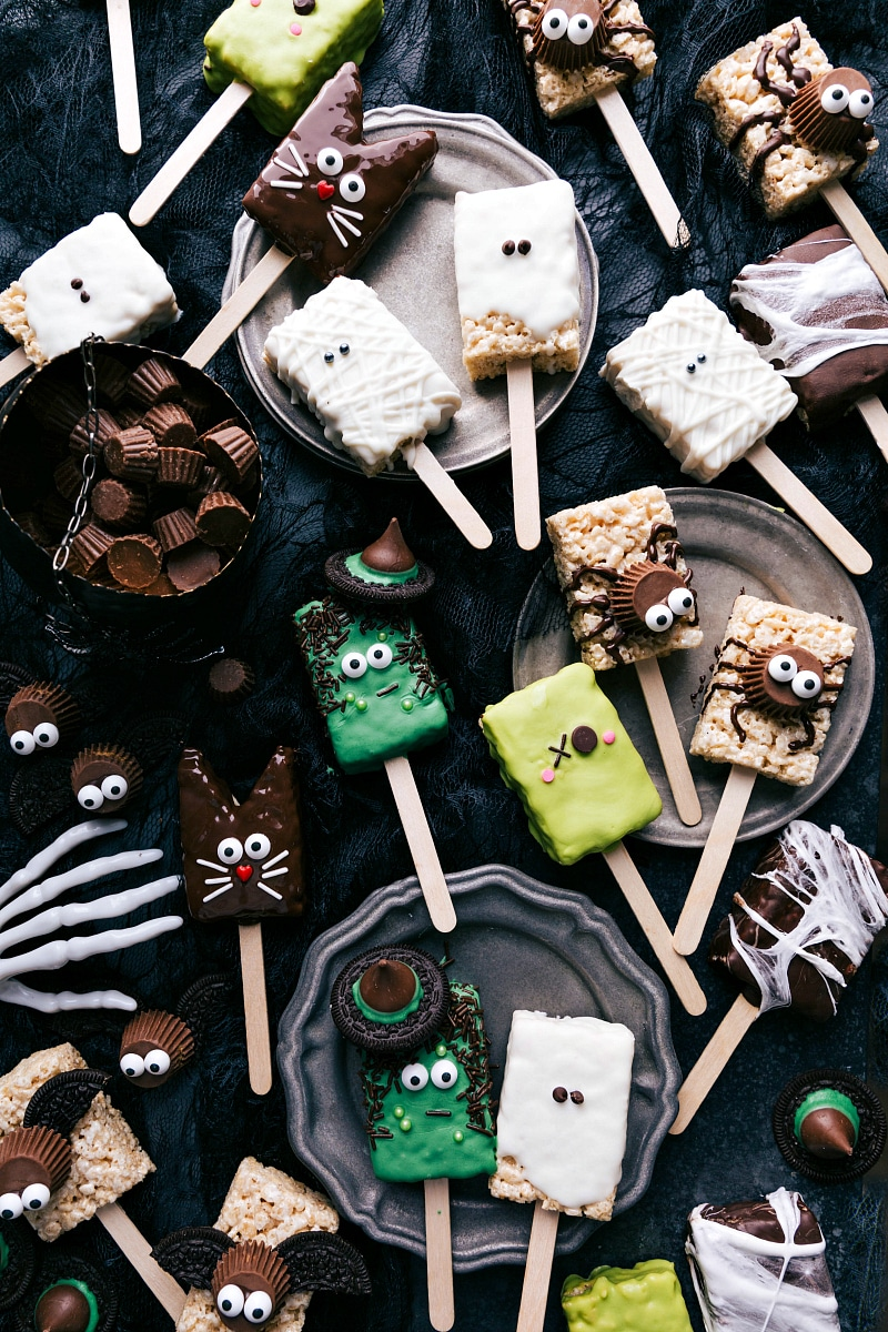 Overhead image of Halloween Rice Krispie Treats.