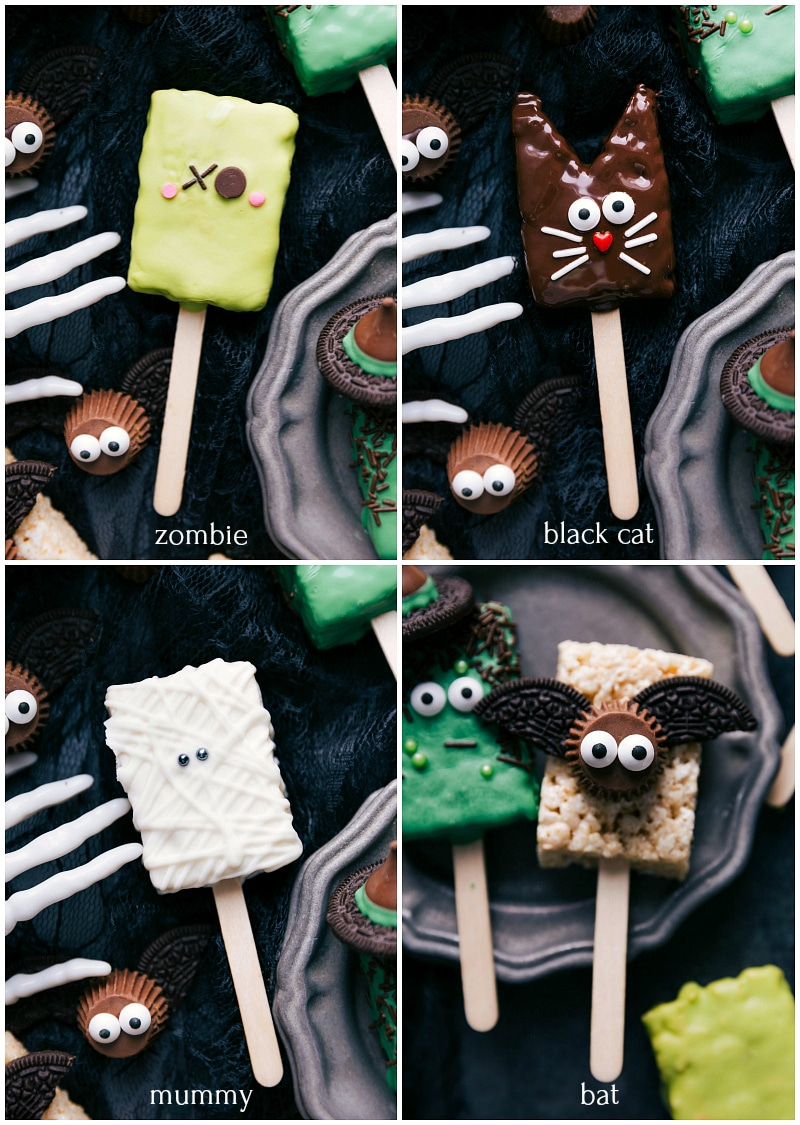 Images of the zombie, black cat, mummy and bat Halloween Rice Krispie Treats on a stick