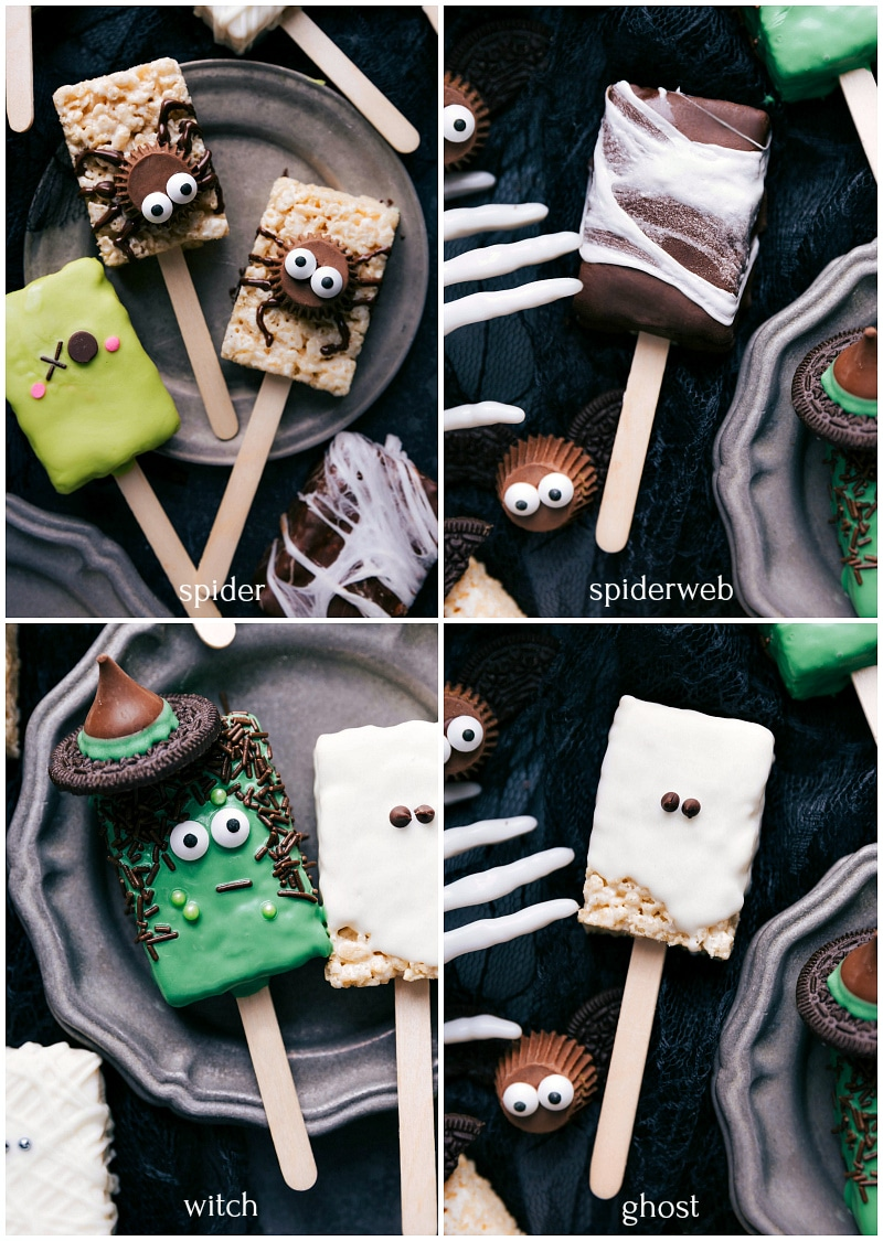 Images of the spider, spiderweb, witch, and ghost Rice Krispie treats on a stick