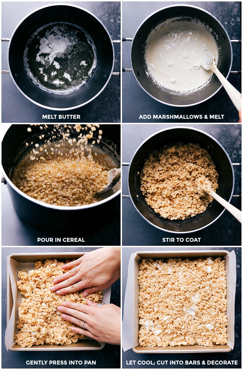 Process shots--images of making homemade Rice Krispie Treats