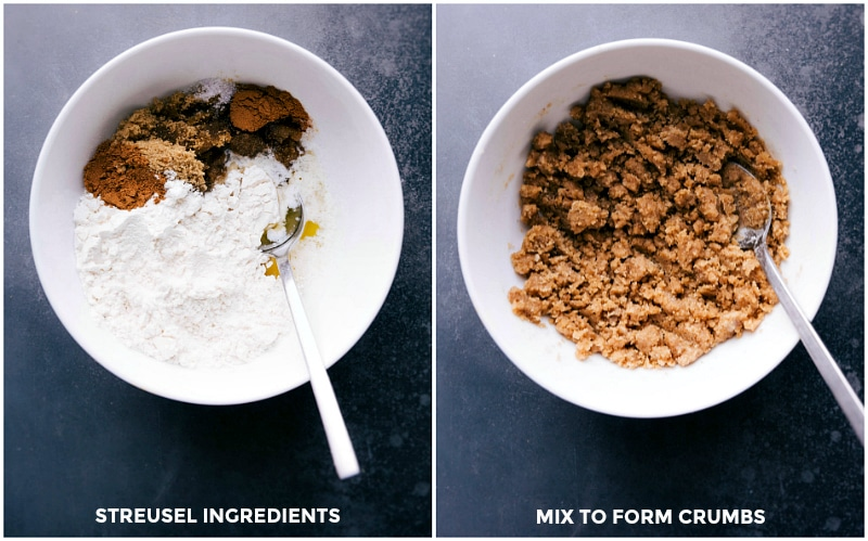 Process shots-- images of the streusel ingredients in a bowl being mixed together.