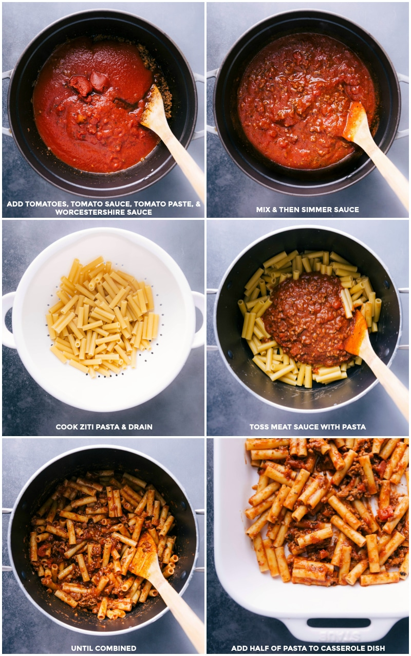 Process shots: combine tomatoes, sauce, paste and Worcestershire sauce and simmer; cook pasta an drain; toss meat sauce with pasta; add half of the pasta to a casserole dish.