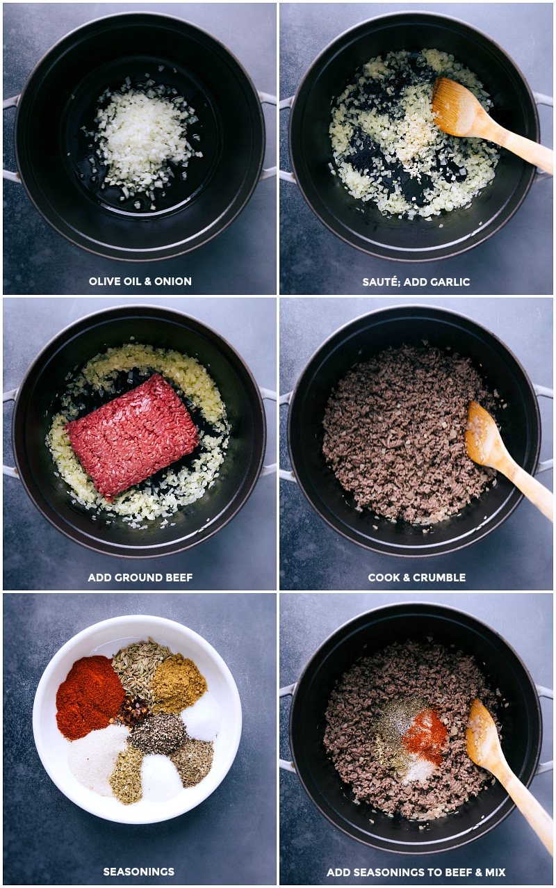 Process shots: sautee onion and garlic in olive oil; add ground beef; cook and crumble. Mix seasonings and add to the pan.
