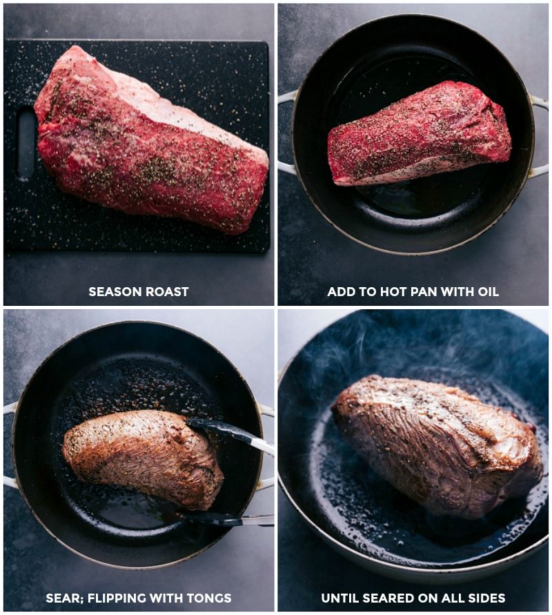 Process shots: seasoning the beef roast; searing it in a pan with oil.