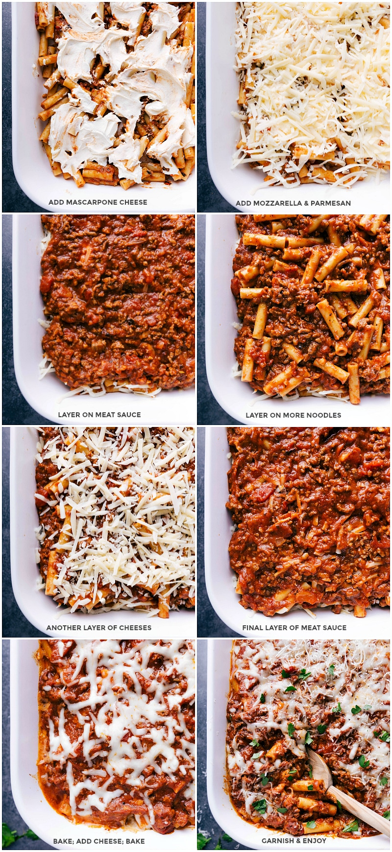 Process shots: add mascarpone to the first layer of pasta; top with mozzarella and Parmesan cheese; layer on two more layers of meat sauce and cheeses; cover and bake, add more cheese and garnish.