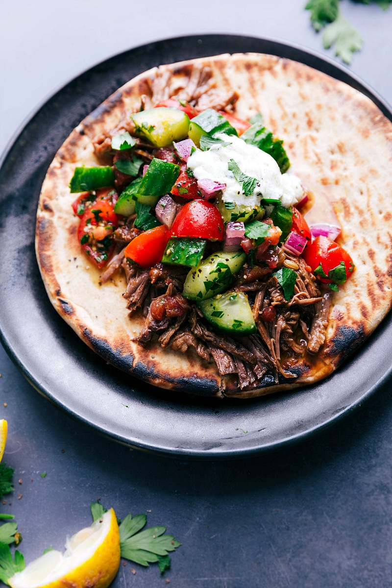 Overhead view of Beef Gyro on a pita bread.
