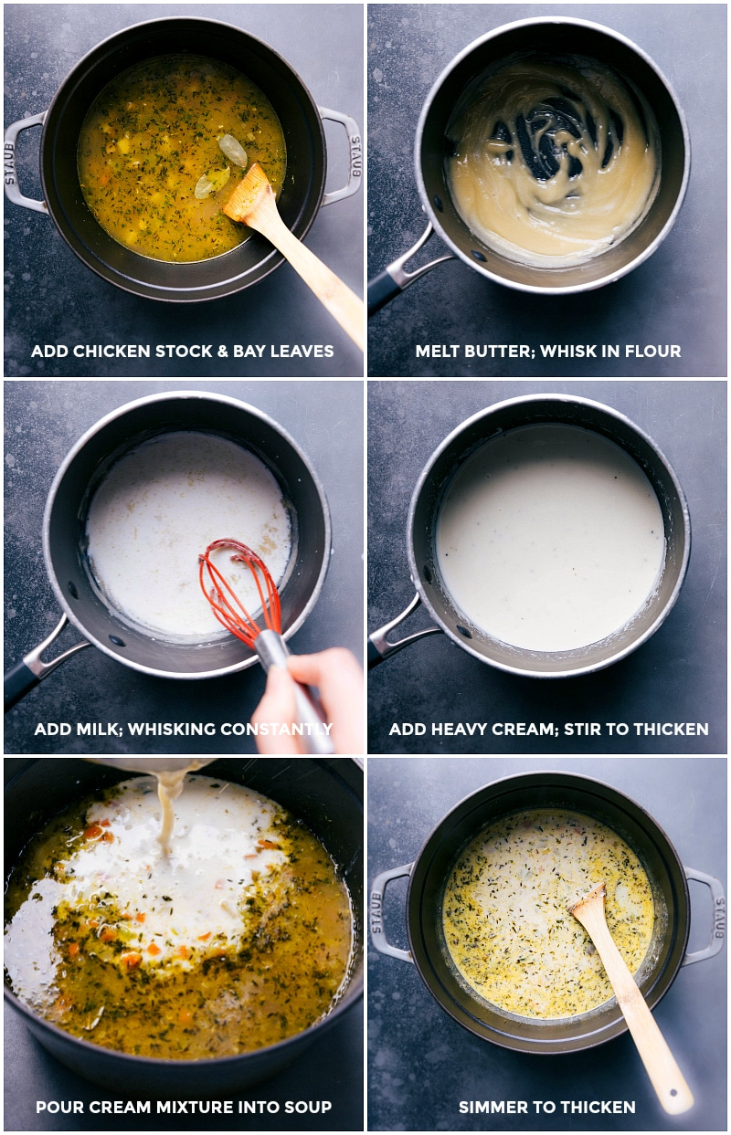 Process shots-- images of the cream sauce being made and added to the soup.