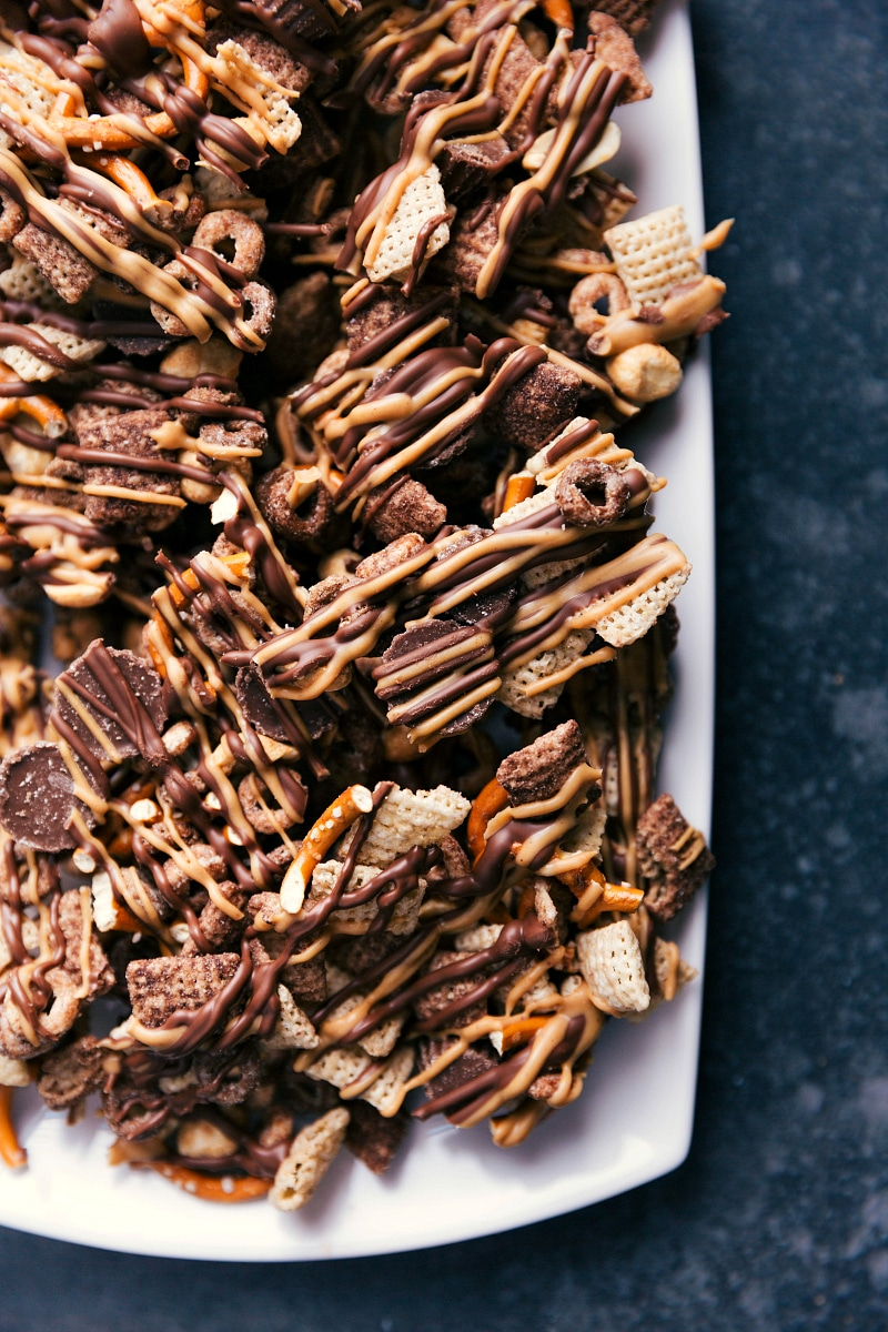 Up-close overhead image of Chocolate-Peanut Butter Snack Mix.