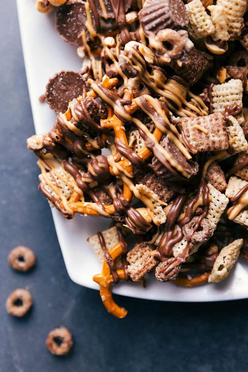 Overhead image of Chocolate-Peanut Butter Snack Mix on a platter, ready to be served.
