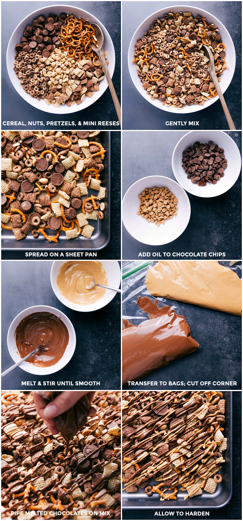 Process shots-- images of all the components of the snack mix being added to a bowl; ingredients being mixed together; the chocolate chips and peanut butter chips being melted and piped over the mix.