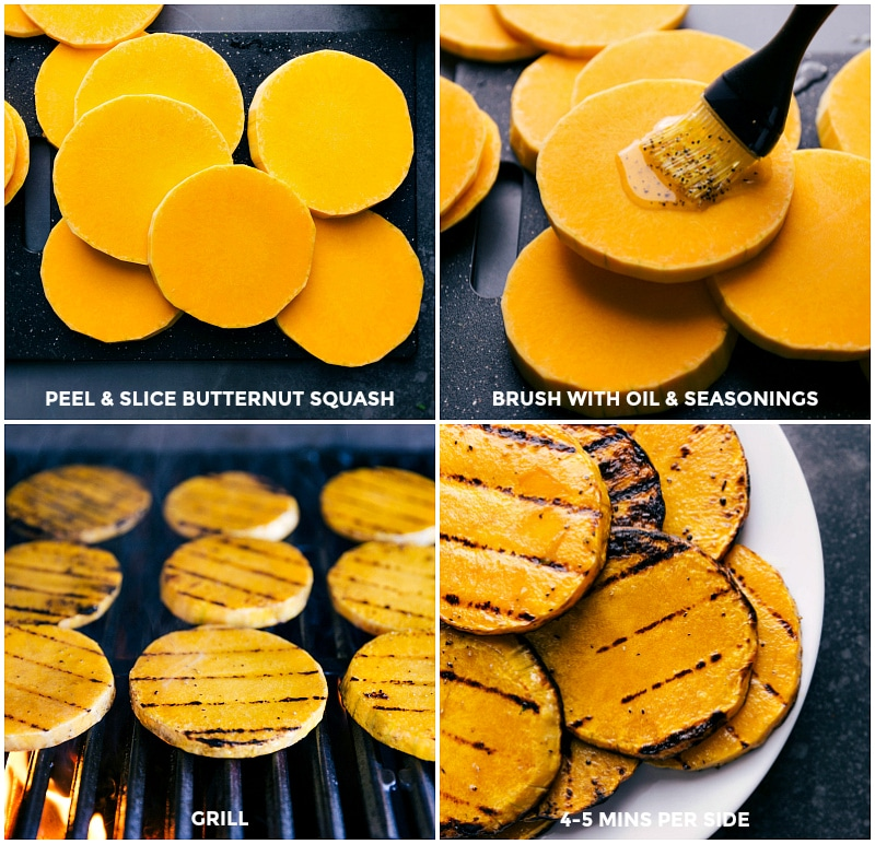 Process shots-- images of the butternut squash being prepped and grilled for the beet and goat cheese flatbread